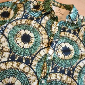 Short Sleeves Mosaic Circles green